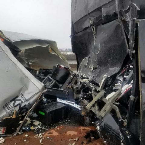 Bus crash of thedillingerescapeplan earlier today in Poland Luckily nobodyhellip
